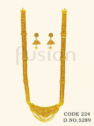 Rajwada Long Polki Necklace Set