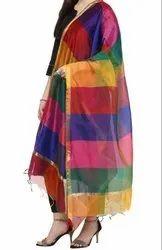Multi Color Dupatta - Rainbow Chanderi Silk Dupatta - Punjabi Chunni