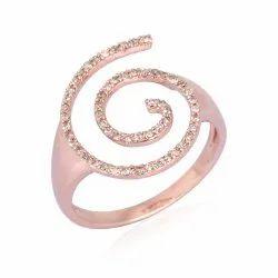 Pave Natural Diamond Gold Swirl Ring