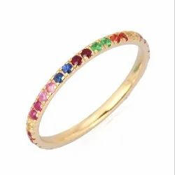 14K Yellow Gold Multi Sapphire Gemstone Band Ring