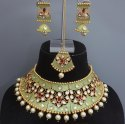 Antique Kundan Mint Necklace Set