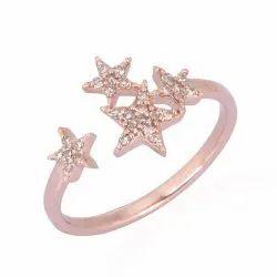 Rose Gold Diamond Star Cuff Ring