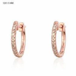 Pave Diamond Rose Gold Huggie Hoop Earrings