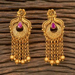 Classic Antique Matte Gold Plated South Indian Earring 202306