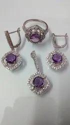 Amethyst Cut Stone Pendant Jewelry