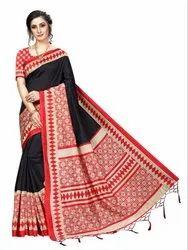 Banarasi Art Silk Party Wear Black Saree Blouse Piece