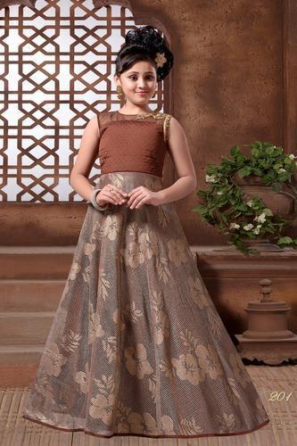 Tafeta Silk Wedding Wear & Party Wear Kids Casual Wear Gown, Rs 1499 ...
