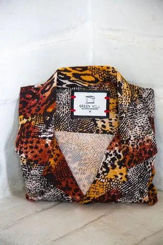 Printed Leopard Half Sleeve Men Casual Cotton Shirt