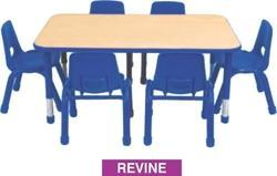 Revine Kids Pre Play School Table with Adjustable Metal Legs and Wooden Top