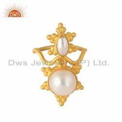 Natural Pearl Gemstone Yellow Gold Plated Silver Rings