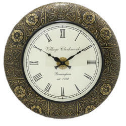 A Beautiful Round Shave Brass Work Big Dail Clock