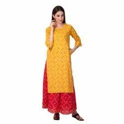 Cotton Knee Long Ladies Kurta, Wash Care: Machine wash, Size: M-xxl