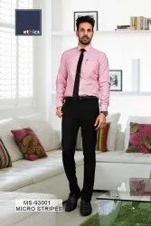 Pink Micro Stripes Mens  Unstitched Uniform Shirts And Pant for Corporate Office