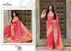 Manjuba Party Wear Banarsi Silk Saree, 6 m (With Blouse Piece)