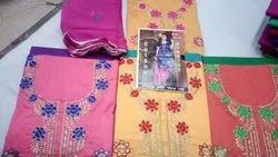 Female Cotton Unstitched Ladies Embroidered Suits