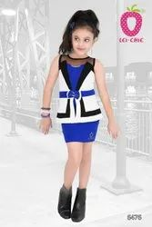 plain KNITED Cute Blue Stylish Short Party Dress, Age Group: 3-12 Years, Size: 22-36