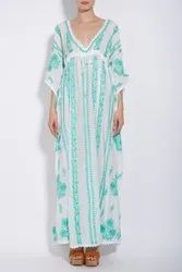 Mexican Floral Embroidery Kaftan