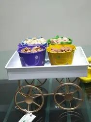 NUHA Basket/Rickshaw/Cart with 4 Buckets for Kitchen, Dining Table