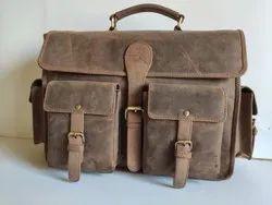 LFB14 Premium Quality Cow Hunter Leather Laptop Messenger Bag