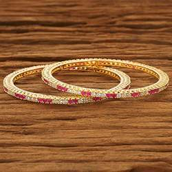 CZ Gold Plated 2 PC Bangles