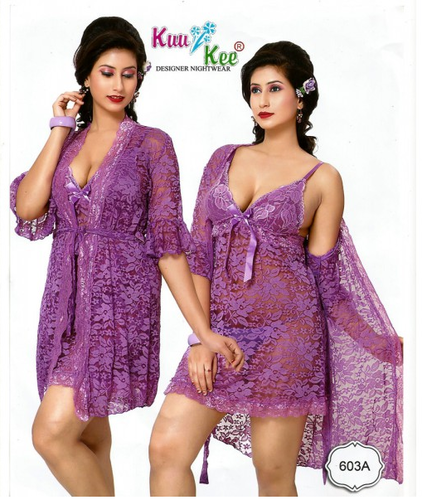 dfd0112e5d Purple Sheer Transparent Net Lace 2 Pc Set Short Babydoll Nightwear ...