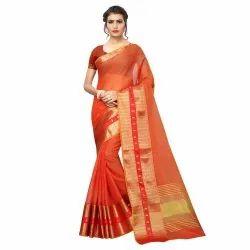 Orange Colored Poly Silk Woven Casual Wear Saree