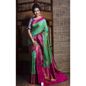 Pure Handloom Tussar Silk Banarasi Saree In Green And Magenta