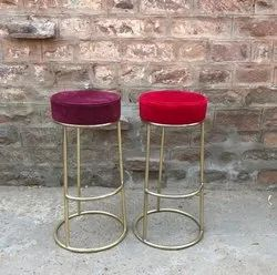 gold MS PIPE ROUND BAR HEIGHT STOOL