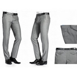 Mens Linen Gray Formal Trouser