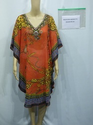 Red Color Digital Printed Kaftan