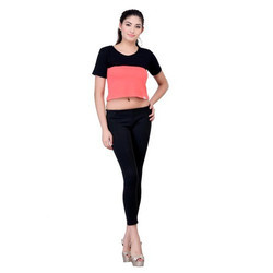 Plain Round Neck Ladies Cotton Crop Top, Size: S-xl