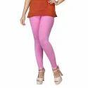 Sassy Curves Plain Pink Cotton Lycra Kali Ankle Length Leggings, Size: Free Size