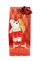 Red Rose Flower With Teddy