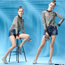 Printed Tops and Jeans Shorts