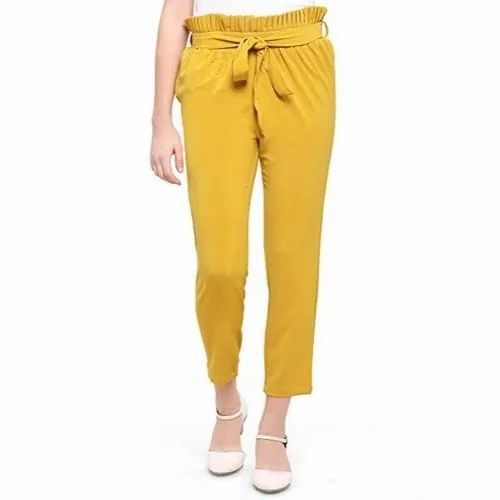 Plain Pleated Pants Yellow Girls Fancy Trouser