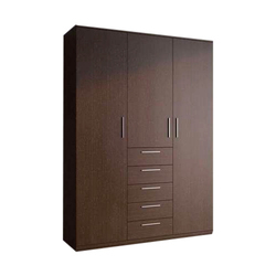 Brown Wooden(Frame) 5 Drawer Wooden Wardrobe, For Home