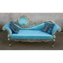 Sky Blue Wood Antique Sofa