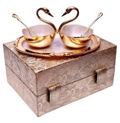 Wedding Gift Item Swan Shape Brass Bowl Set