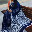 Mul Cotton Casual Wear Hand Block Print Saree, Hand Made, 6.5 Meter With Blouse Piece