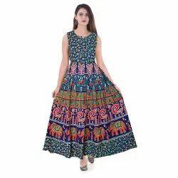 Rajasthani Animal Printed Cotton Midi Dress, Size: XL