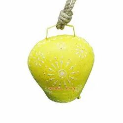 Yellow Floral Cowbell With White Cone Painting Iron Home Garden Decoration