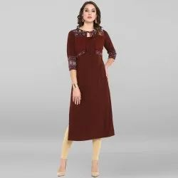 Brown Poly Crepe Kurta With Attached Jacket(JNE3400)