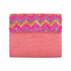 Azzra Pink Printed Fabric Wooden Clutch