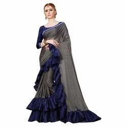 Lycra Plain Ruffle Saree
