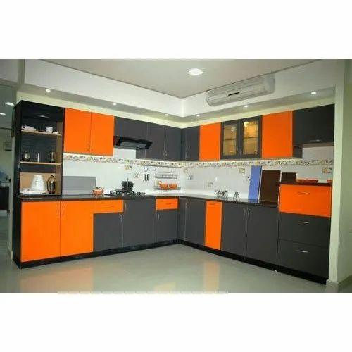 L Shape Wooden Orange And Grey Modular Kitchen