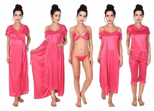 Satin Honeymoon Wear Half-Sleeves Nighty Set 83544423a