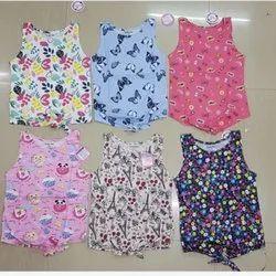 Cotton Printed Girls Sleeveless Top, 1-12 Years