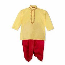 Silk Plain Golden Kids Dhoti Kurta