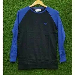 Mens Plain Round Fancy Long Sleeve T Shirt, Size: S - XL