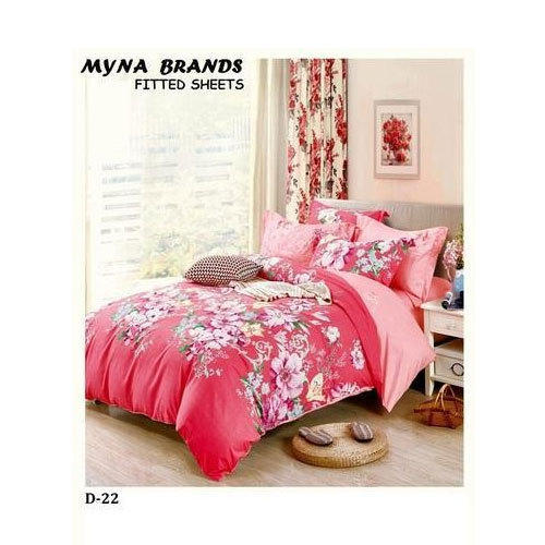 Printed Cotton Floral Fitted Bed Sheet
